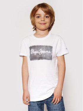 Pepe Jeans Pepe Jeans Marškinėliai Jacob PB503145 Balta Regular Fit