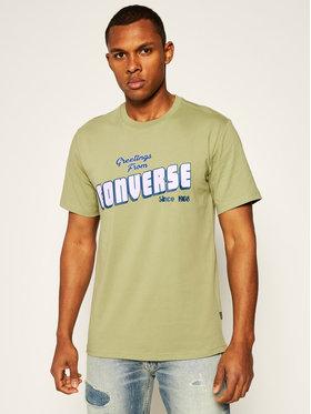 Converse Converse T-Shirt Greetings 10019604-A03 Zelená Regular Fit