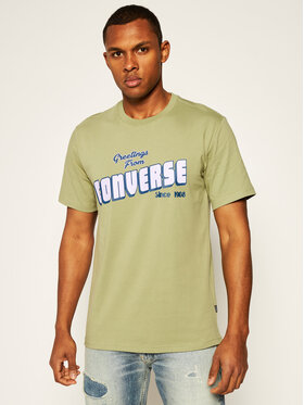 Converse Converse T-Shirt Greetings 10019604-A03 Zielony Regular Fit