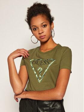 Guess Guess Marškinėliai Ambra W0YI98 J1300 Žalia Slim Fit