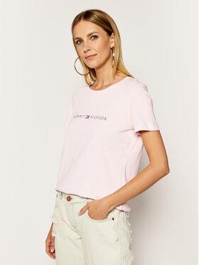 TOMMY HILFIGER TOMMY HILFIGER T-Shirt Logo WW0WW27137 Różowy Regular Fit