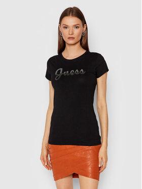 Guess Guess Marškinėliai Split Script Logo W1BI22 KAKZ1 Juoda Slim Fit