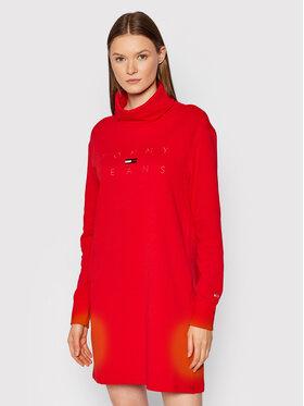 Tommy Jeans Tommy Jeans Sukienka dzianinowa Tjw Mock Neck Logo DW0DW11263 Czerwony Regular Fit