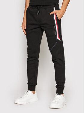 Tommy Hilfiger Tommy Hilfiger Spodnie dresowe Split Corp Stripe MW0MW21117 Czarny Regular Fit