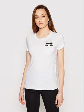 KARL LAGERFELD KARL LAGERFELD T-Shirt Ikonik Karl Pocket 210W1720 Biały Regular Fit