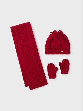 Mayoral Mayoral Zestaw czapka, szalik i rękawiczki 10106 Czerwony