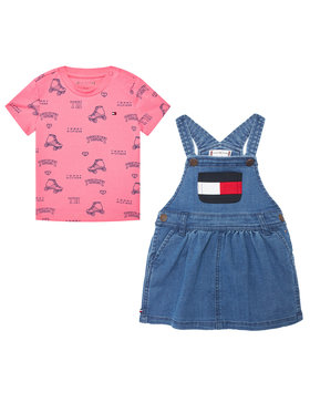 Tommy Hilfiger Tommy Hilfiger Súprava tričko a sukňa Baby Dungaree Set KN0KN01342 Farebná Regular Fit