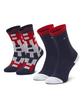 Tommy Hilfiger Tommy Hilfiger Set di 2 paia di calzini lunghi da bambini 100000811 Blu scuro
