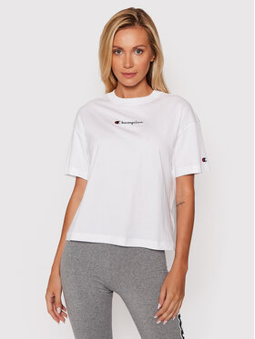 Champion Champion T-shirt Script Logo 114474 Blanc Regular Fit