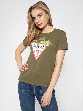 Guess Guess T-shirt Palms Triangle W0GI52 JA900 Verde Regular Fit