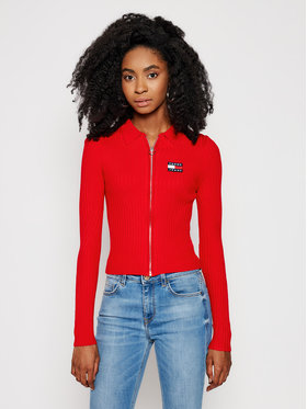 Tommy Jeans Tommy Jeans Pullover Zip Through DW0DW09803 Rot Slim Fit