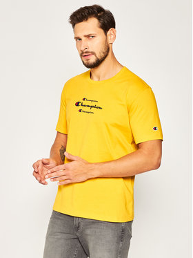 Champion Champion T-Shirt Triple Script 214330 Žlutá Regular Fit