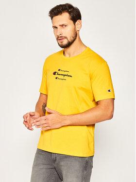 Champion Champion T-Shirt Triple Script 214330 Żółty Regular Fit