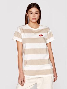 PLNY LALA PLNY LALA T-shirt Kiss My PL-KO-CL-00212 Bež Classic Fit