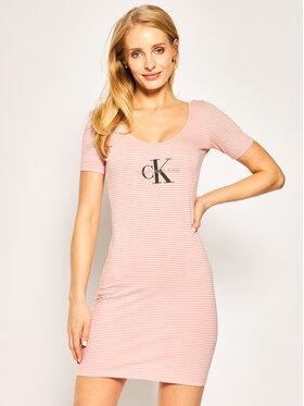 Calvin Klein Jeans Calvin Klein Jeans Sukienka dzianinowa W Monogram Stripe Ballet Dress J20J213699 Różowy Slim Fit