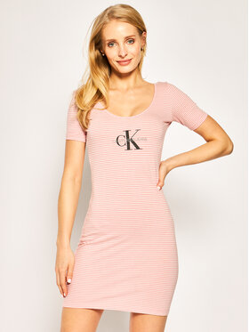 Calvin Klein Jeans Calvin Klein Jeans Vestito di maglia W Monogram Stripe Ballet Dress J20J213699 Rosa Slim Fit