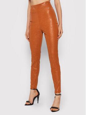 Guess Guess Kalhoty z imitace kůže Priscilla W1BB08 WE5V0 Oranžová Extra Slim Fit