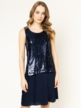 Trussardi Trussardi Kokteilinė suknelė Paillettes 56D00332 Tamsiai mėlyna Regular Fit