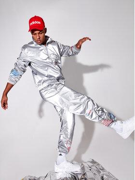 adidas adidas Spodnie dresowe adicolor Tricolor GN4213 Srebrny Regular Fit