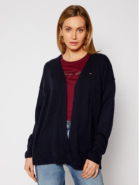 TOMMY HILFIGER TOMMY HILFIGER Kardiganas Open V-Nk Ls WW0WW29662 Tamsiai mėlyna Relaxed Fit