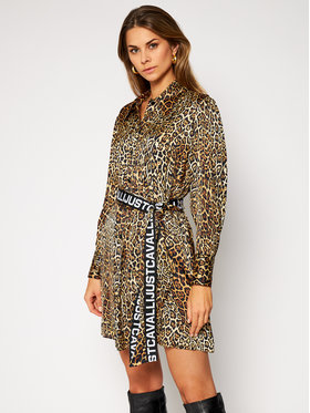 Just Cavalli Just Cavalli Košilové šaty S02CT1060 Hnědá Regular Fit
