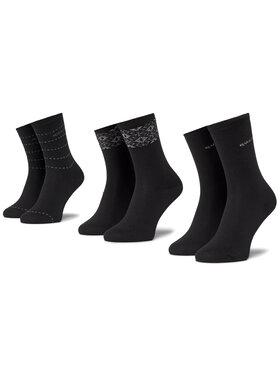 QUAZI QUAZI Set di 3 paia di calzini lunghi da donna QZ-SOCKS-65-04-WOMAN-001 Nero