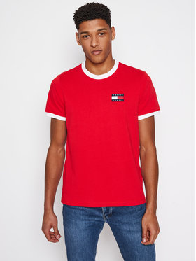 Tommy Jeans Tričko DM0DM10280 Červená Regular Fit