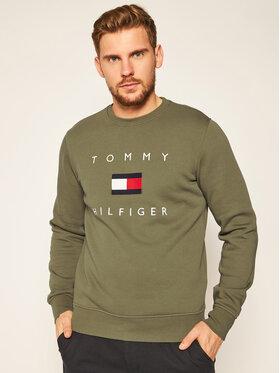 TOMMY HILFIGER TOMMY HILFIGER Mikina Flag MW0MW14204 Zelená Regular Fit