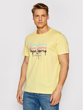 Pepe Jeans Pepe Jeans Marškinėliai Moe 2 PM507778 Geltona Regular Fit