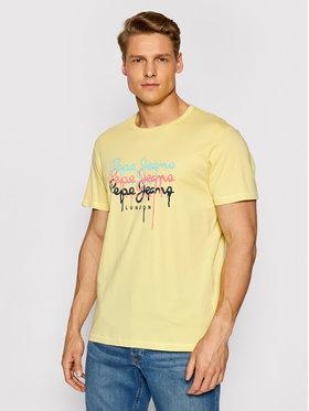 Pepe Jeans Pepe Jeans T-Shirt Moe 2 PM507778 Gelb Regular Fit