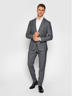 Tommy Hilfiger Tailored Tommy Hilfiger Tailored Oblek Check TT0TT08549 Sivá Slim Fit