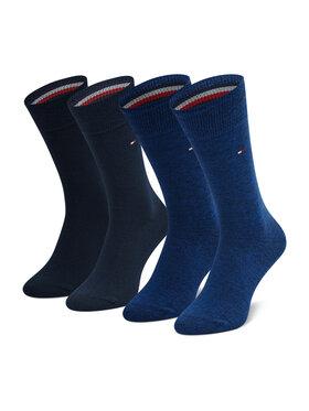 Tommy Hilfiger Tommy Hilfiger Súprava 2 párov vysokých pánskych ponožiek 371111 Tmavomodrá