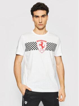 Puma Puma T-Shirt Scuderia Ferrari Chequered Flag 599848 Biały Regular Fit