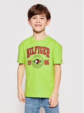 Tommy Hilfiger Tommy Hilfiger T-Shirt Artwork KB0KB06519 D Zielony Regular Fit