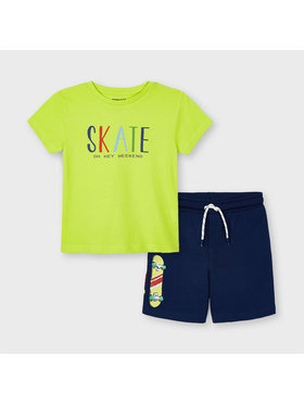 Mayoral Mayoral Komplet T-Shirt i szorty sportowe 3643 Kolorowy Regular Fit