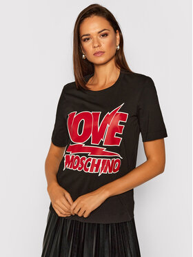 LOVE MOSCHINO LOVE MOSCHINO Póló W4F152RM 3876 Fekete Regular Fit