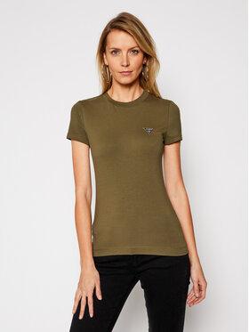 Guess Guess T-shirt Mini Triangle W1RI04 J1311 Verde Slim Fit