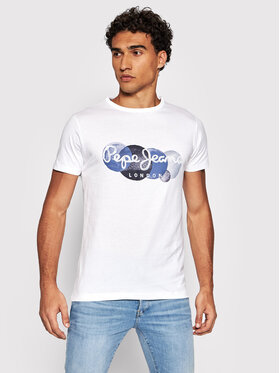 Pepe Jeans Pepe Jeans Тишърт Sacha PM507860 Бял Regular Fit