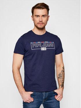 Pepe Jeans Pepe Jeans Marškinėliai Dennis PM507740 Tamsiai mėlyna Regular Fit