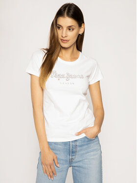 Pepe Jeans Pepe Jeans T-Shirt Beatrice PL504434 Bílá Regular Fit