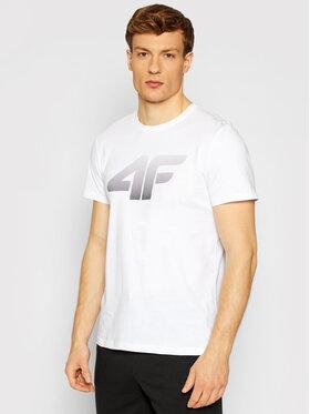 4F 4F T-Shirt TSM004 Biały Regular Fit