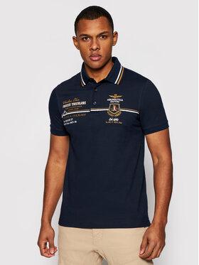 Aeronautica Militare Aeronautica Militare Тениска с яка и копчета 211PO1556P199 Тъмносин Slim Fit