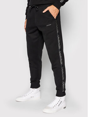 Calvin Klein Calvin Klein Teplákové nohavice Silver Logo K10K106736 Čierna Regular Fit