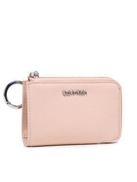 Calvin Klein Calvin Klein Maža Moteriška Piniginė Ck Must Z/A Wallet Sm W/Dogclip K60K608608 Rožinė