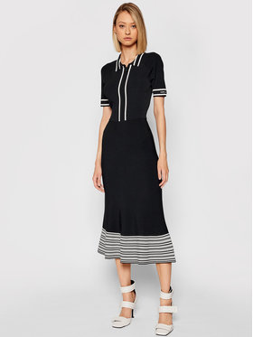 KARL LAGERFELD KARL LAGERFELD Úpletové šaty 215W1364 Černá Regular Fit