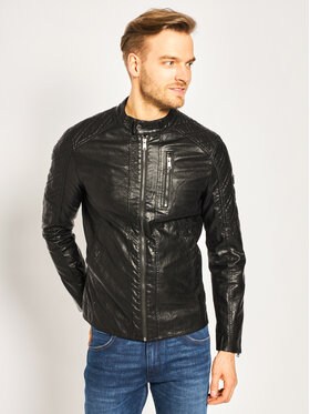 Guess Guess Μπουφάν δερμάτινο Quilted Eco M02L46 WCQD0 Μαύρο Regular Fit