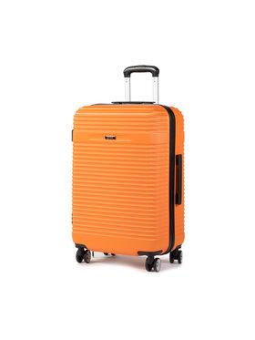 Ochnik Ochnik Közepes keményfedelű bőrönd WALAB-0040-24 Narancssárga