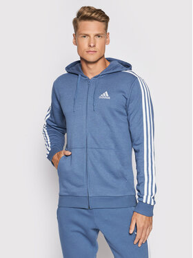 adidas adidas Pulóver Essentials French Terry 3-Stripes GK9035 Kék Regular Fit