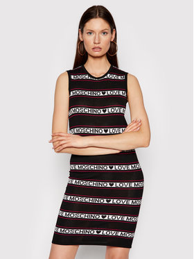 LOVE MOSCHINO LOVE MOSCHINO Úpletové šaty WS52R10X 1422 Černá Regular Fit