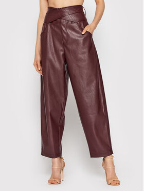 Pinko Pinko Pantaloni in similpelle Shelby 1G168U 7105 Bordeaux Relaxed Fit